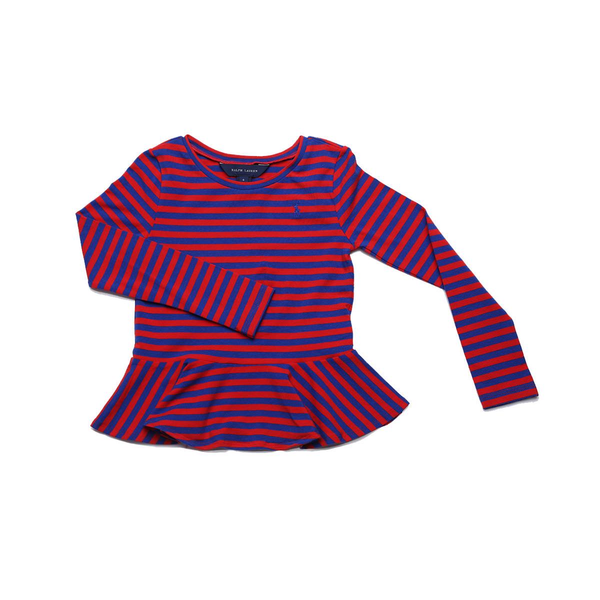 M Ralph Lauren Girls Striped Ruffle Pony Logo Romper , Pink//navy 8-10