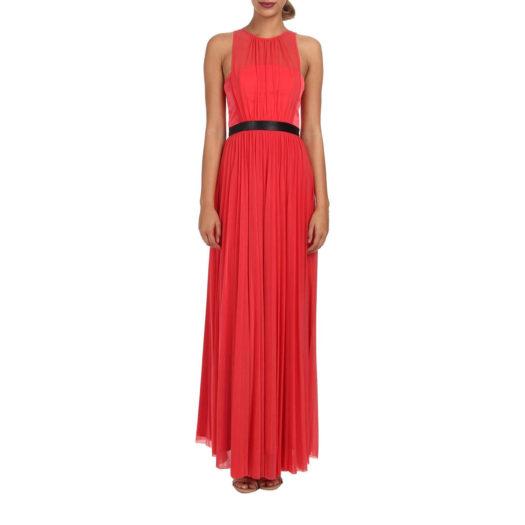 Abs Allen Schwartz Sleeveless Construction Gown W/ Pleated Skirt