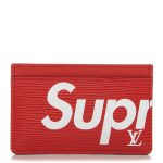 LOUIS VUITTON X SUPREME Epi Card Holder Wallet Red