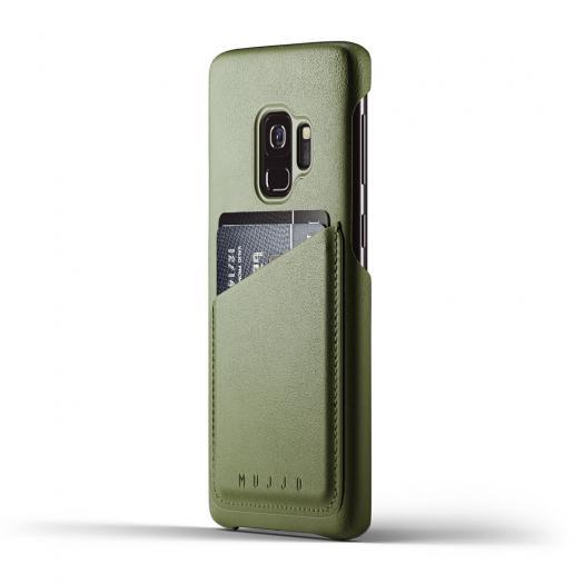 MUJJO Leather Wallet Cases for Galaxy S9 and S9 Plus-Olive