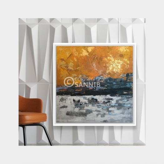 Sannib Art - Golden Abstract Scene