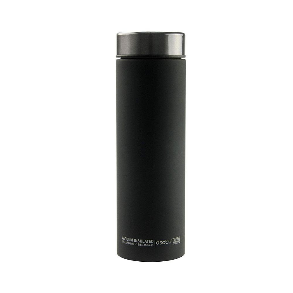 Asobu Le Baton Insulated Vacuum Sealed Stainless Steel Trendy Travel Water and Beverage Bottle 17oz Gold Lid