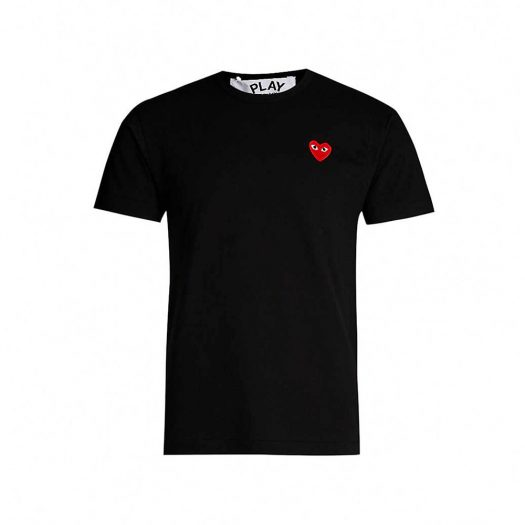 Comme Des Garcons Heart Embroidered T-Shirt Black