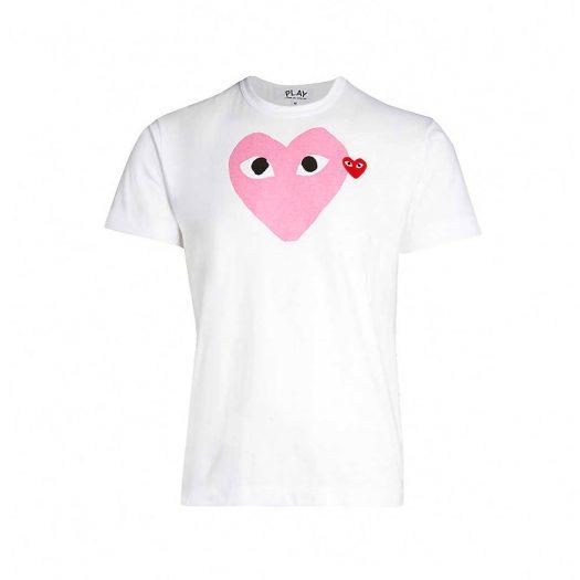 Comme Des Garcons Heart Logo Motif T-Shirt White