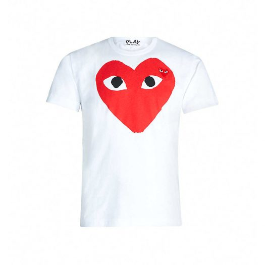 Comme Des Garcons Red Heart Logo T-Shirt White