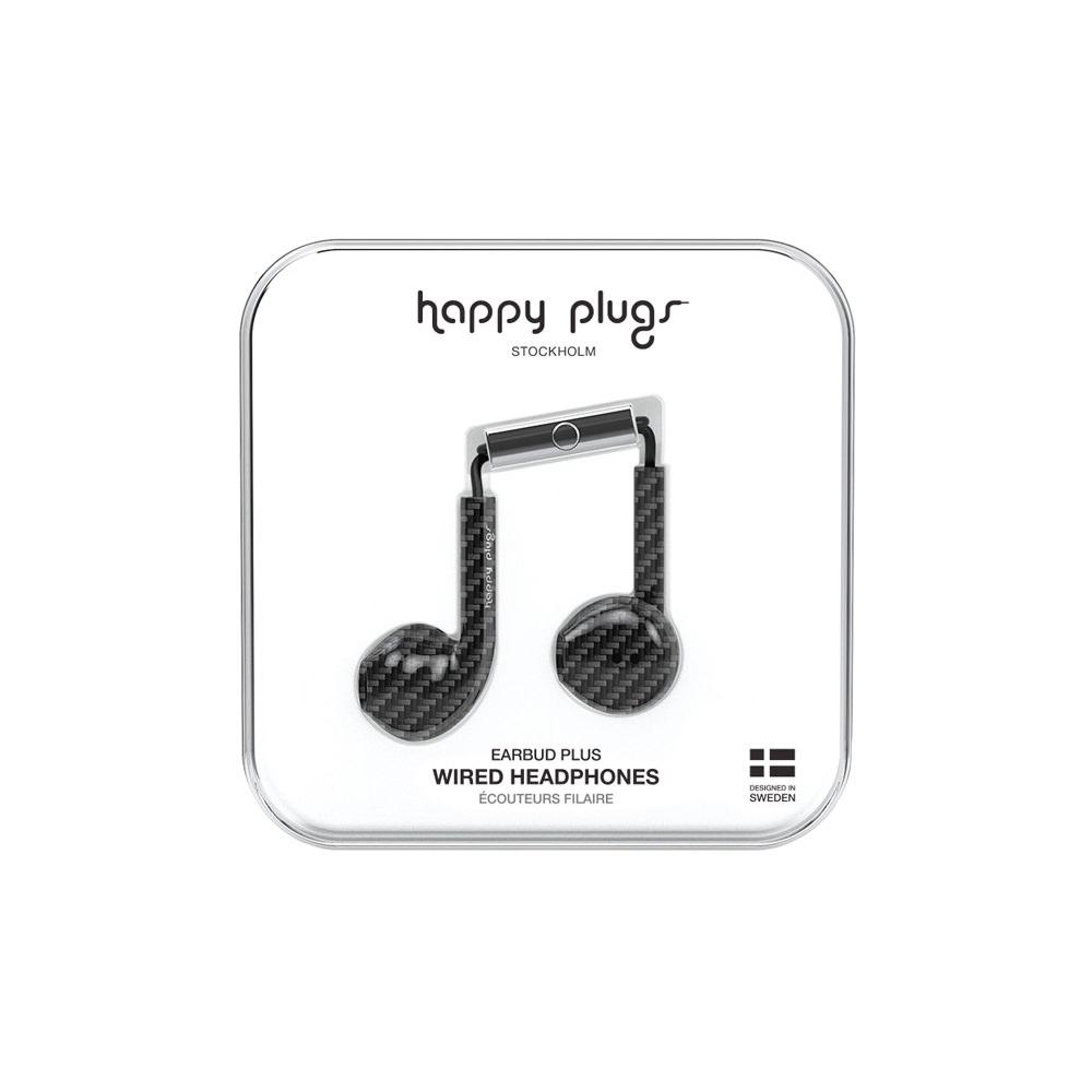 Happy Plugs Wired Earbud Plus Earphones – Carbon Fiber