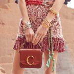 Mini Chloé C Leather Shoulder Bag Sepia Brown