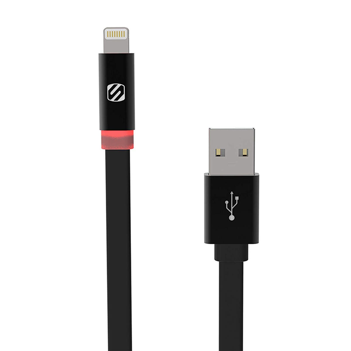 SCOSCHE Flatout LED Charge and Sync Lightning 6 feet Cable – Black