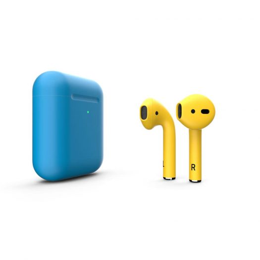 Customized Apple AirPods Matte Blue With Yellow