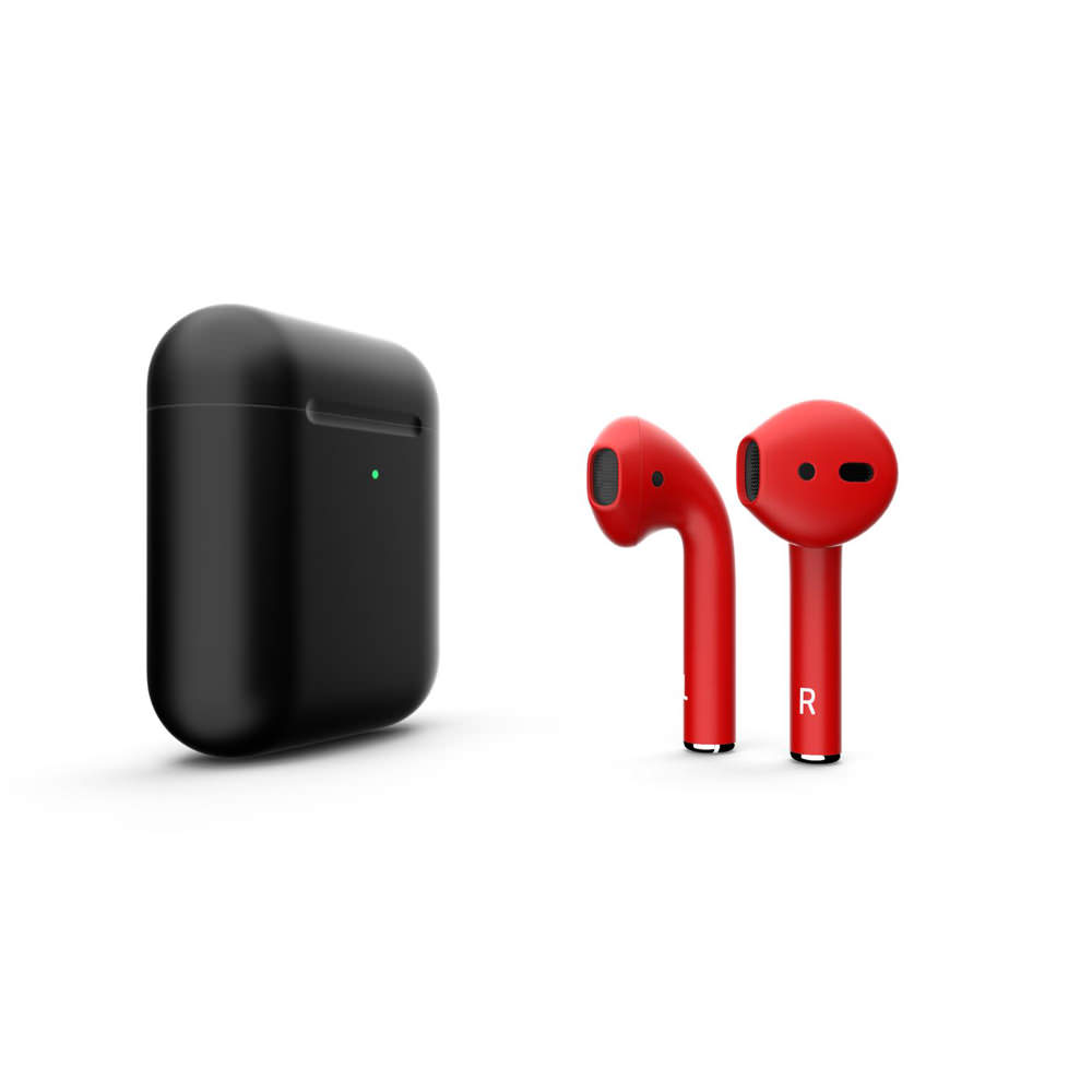 Customized Apple AirPods Matte Black With Red