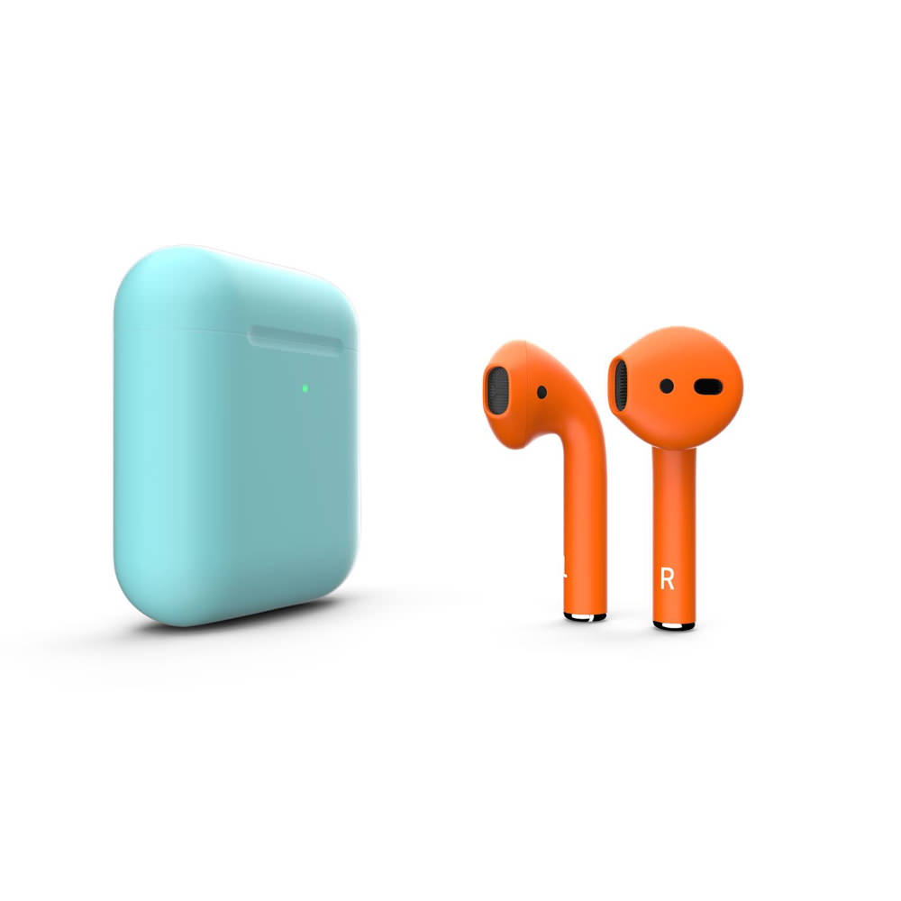 Customized Apple AirPods Matte Caribbean With Orange