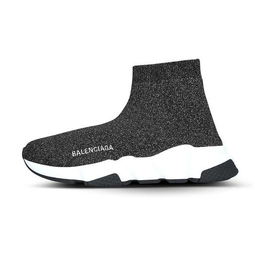 Balenciaga Speed Knitted Mid-top Trainers Black Glitter
