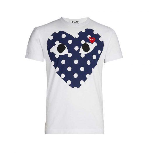 Heart Print Cotton Jersey T-shirt White By Comme Des Garcons