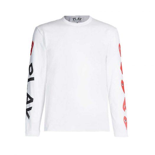 Logo Print Cotton Jersey Top White By Comme Des Garcons