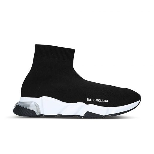 Balenciaga Speed Bubble Woven High Top Trainers Black White