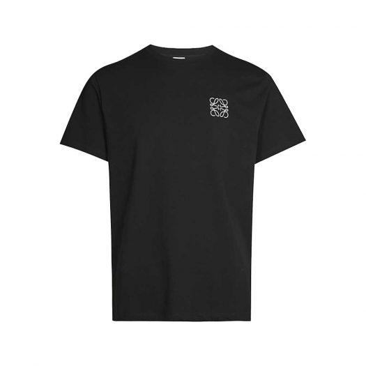 Loewe Logo Embroidered Cotton Jersey T-shirt Black