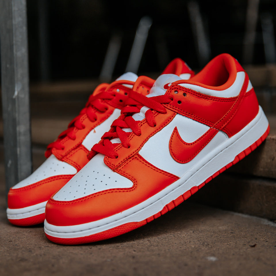 Nike Dunk Low SP Syracuse (2020) by Nike, available on ofour.com for $544 Hailey Baldwin Shoes Exact Product