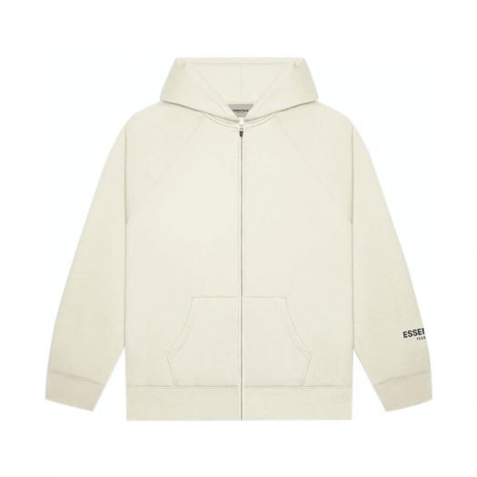 FEAR OF GOD ESSENTIALS 3D Silicon Applique Full Zip Up Hoodie Buttercream