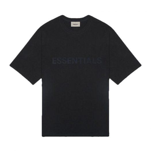Fear Of God Essentials 3d Silicon Applique Boxy T-shirt Dark Slate/stretch Limo/black