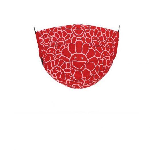 Takashi Murakami Flower Pattern Face Mask Red/White