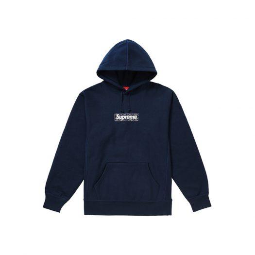 Supreme Bandana Box Logo Hooded Sweatshirt Navy
