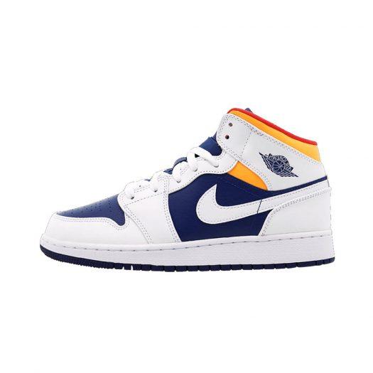 Jordan 1 Mid White Laser Orange Deep Royal Blue (GS)
