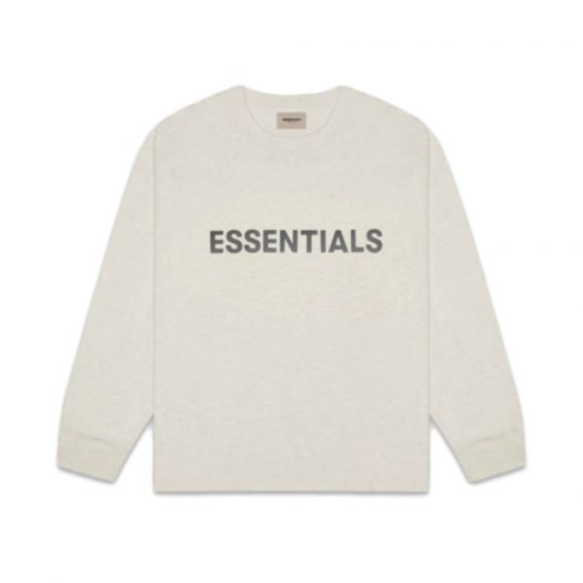 Fear Of God Essentials 3d Silicon Applique Boxy Long Sleeve T-shirt Oatmeal Heather
