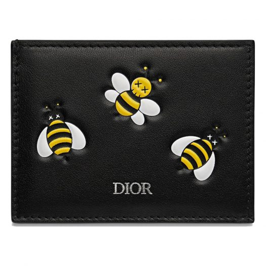 Dior x Kaws Card Holder with Pocket Yellow Bees Black