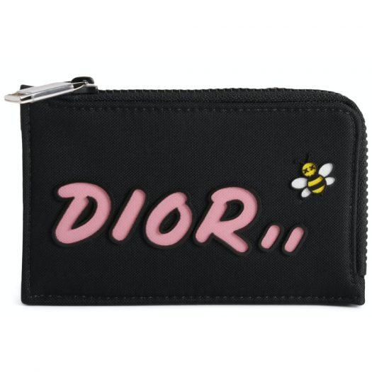 Dior x Kaws Zipped Card and Coin Holder Pink Logo Nylon Black