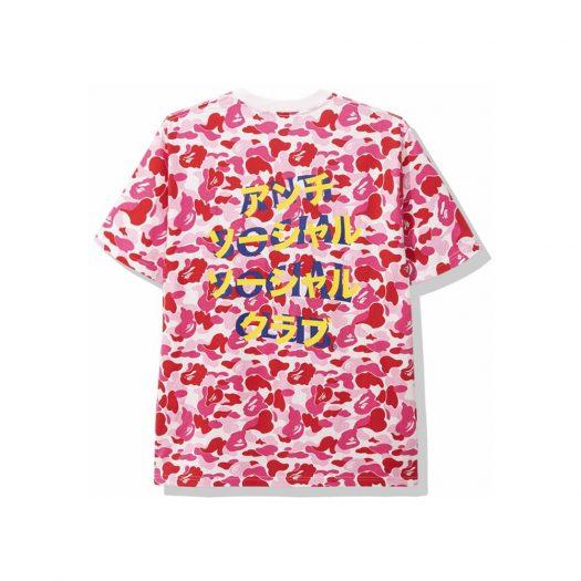 Bape X Anti Social Social Club Abc Camo Tee Pink