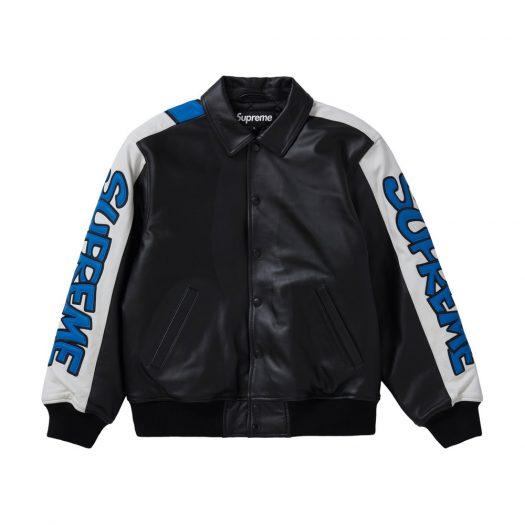 Supreme Smurfs Leather Varsity Jacket Black