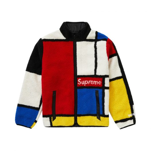 Supreme Reversible Colorblocked Fleece Jacket Red