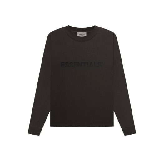 Fear Of God Essentials 3d Silicon Applique Boxy Long Sleeve T-shirt Weathered Black