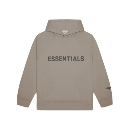 Fear Of God Essentials 3d Silicon Applique Pullover Hoodie Taupe