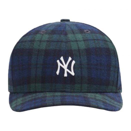 Kith x New York Yankees Plaid New Era Cap Blackwatch