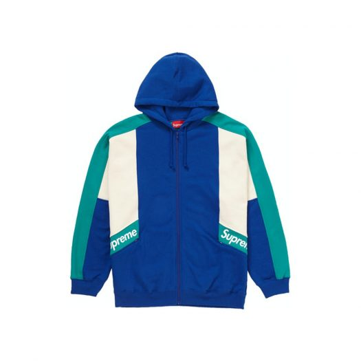 Supreme Color Blocked Zip Up Hooded Sweatshirt Royal