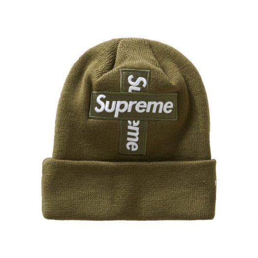 Supreme New Era Cross Box Logo Beanie Light Olive