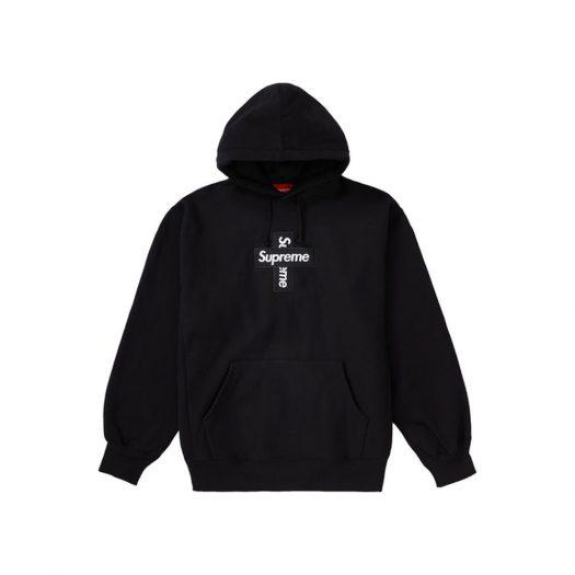 Supreme Cross Box Logo Hooded Sweatshirt Black