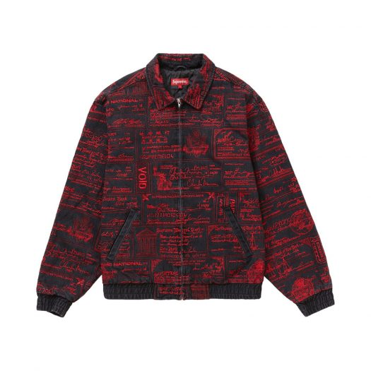 Supreme Checks Embroidered Denim Jacket Black