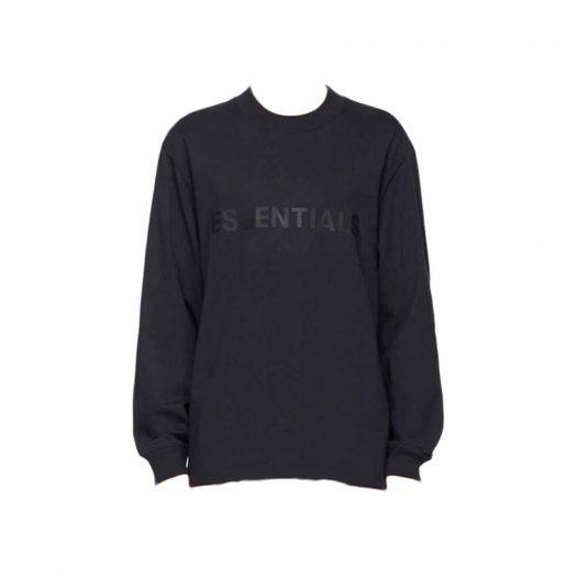 Fear Of God Essentials X Ssense 3d Silicon Applique Boxy Long Sleeve T-shirt Dark Navy