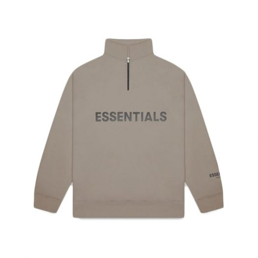 Fear Of God Essentials Half Zip Pullover Sweater Taupe