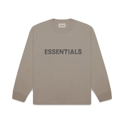 Fear Of God Essentials 3d Silicon Applique Boxy Long Sleeve T-shirt Taupe