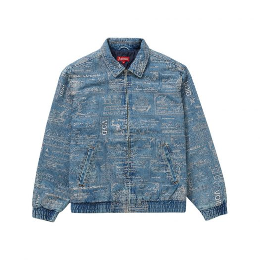Supreme Checks Embroidered Denim Jacket Blue