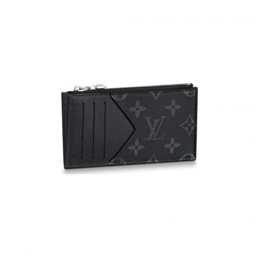 Louis Vuitton Coin Card Holder Monogram Eclipse Taiga Black in Taiga Leather/Coated Canvas with Silver-tone