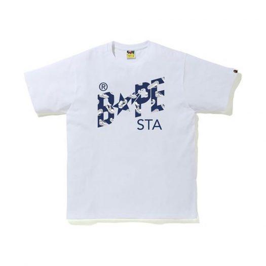 Bape Random Sta Logo Tee White/navy