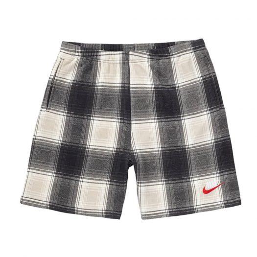 Supreme Nike Plaid Sweatshort Black