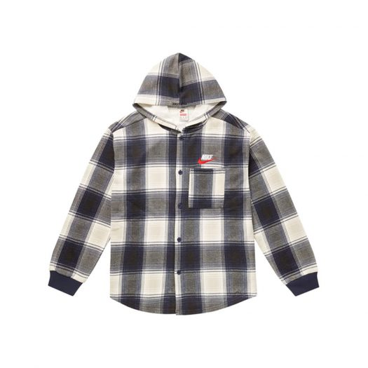 Supreme Nike Plaid Hooded Sweatshirt Navy