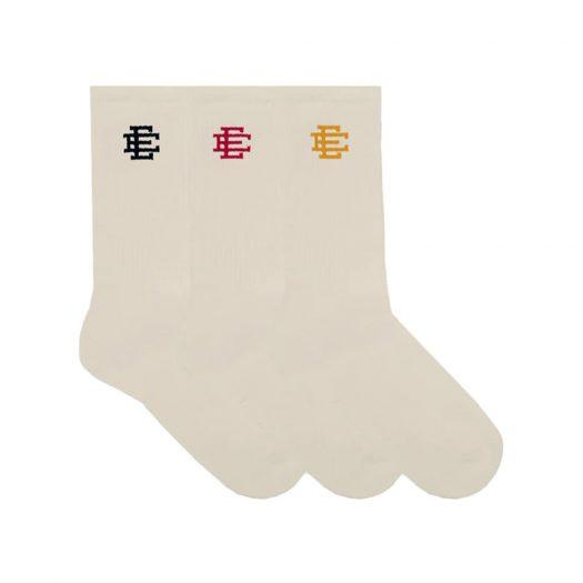 Eric Emanuel EE Beige Socks Yellow/Pink/Navy