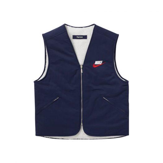 Supreme Nike Reversible Nylon Sherpa Vest Navy