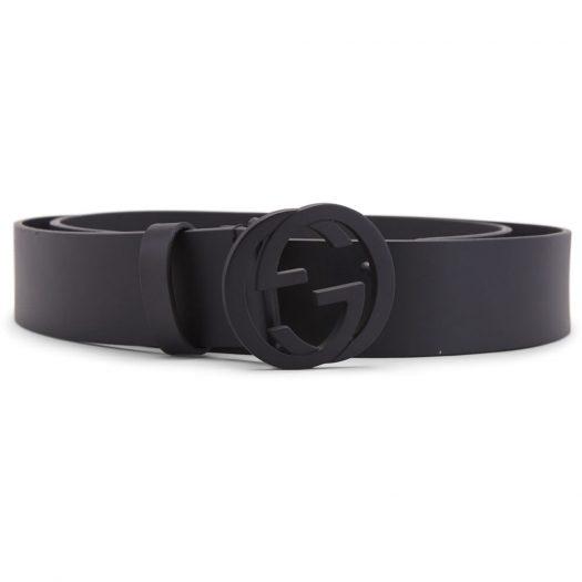 Gucci Matte Black Interlocking G Belt Leather 1.5W Black in Leather with Matte Black